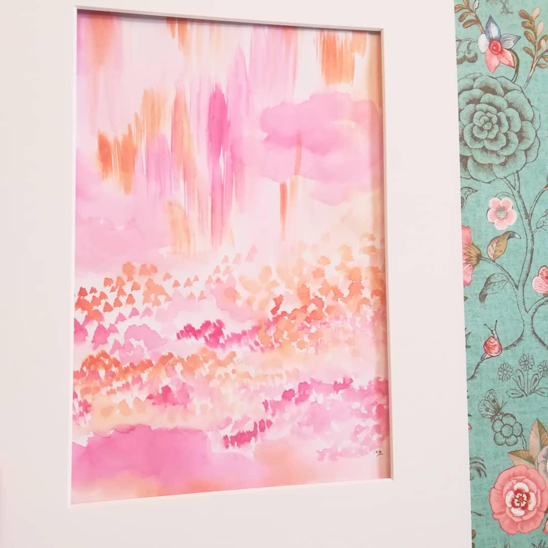 A coeur Cornaline 03, aquarelles végétales sur papier blanc lisse, format 30x42cm, 2019, 80€ passe-partout inclus