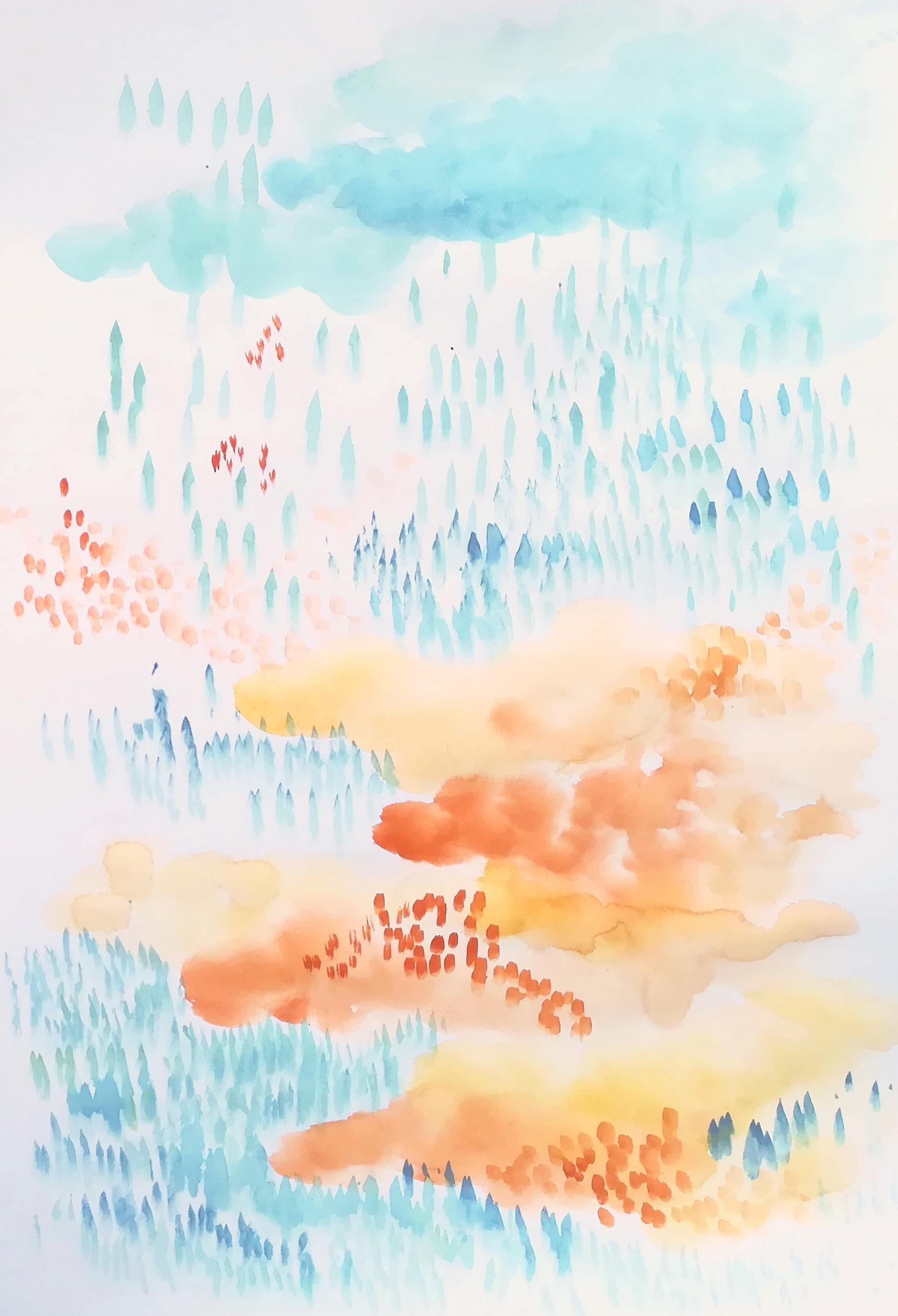 A coeur Cornaline 01, aquarelles végétales sur papier blanc lisse, format 30x42cm, 2019, 80€ passe-partout inclus