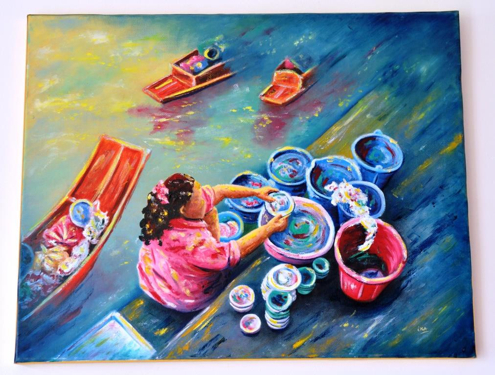 A l'heure de la vaisselle, marché flottant de Damnoen Sadusak, Thaïlande, huile sur châssis toilé coton, format 60x50cm, 2016, 320€