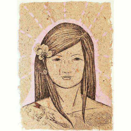 Asuka Natural, encre noire et aquarelle japonaise sur papier de fabrication artisanale à la main de fleur d'iris, format 30x42 cm, 2021, 220€