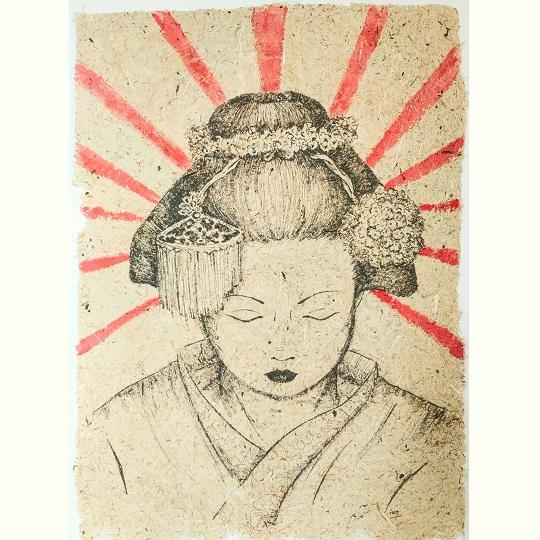 Asuka Traditionnal, encre noire et aquarelle artisanale sur papier de fabrication artisanale à la main de fleur d'iris, format 30x42 cm, 2021, 220€
