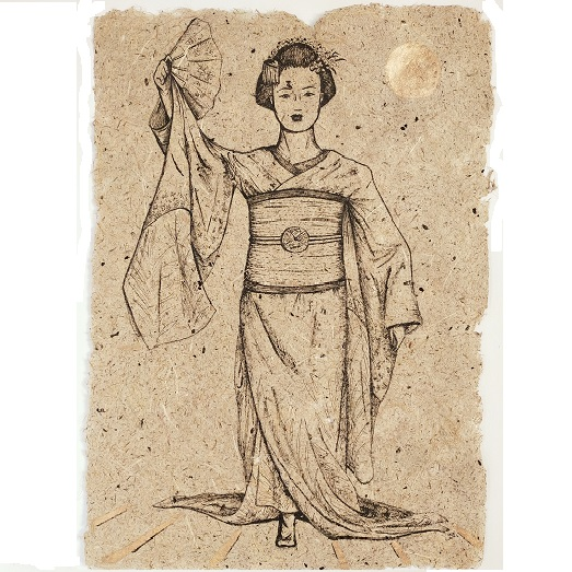 Asuka, encre noire et peinture or surr papier de fabrication artisanale à la main de fleur d'iris, format 30x42 cm, 2021, 220€