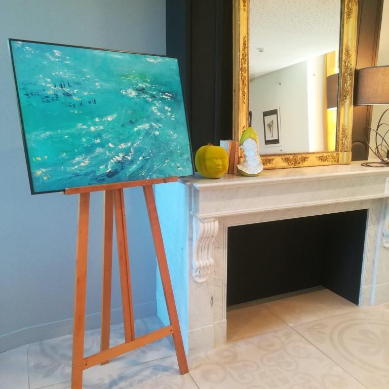Emotion Sainte Croix 01, huile sur chutes d'affiche, format 60x80cm, 2018, 450€