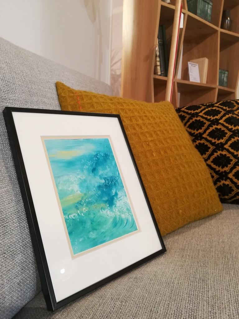Emotions Bleues 02, huile sur carton, format 21x29,7cm, 2018, 90€ avec encadrement