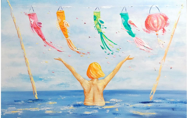 Happy Child in Me, Peinture à l'huile sur châssis toilé coton, format 40x60cm, 2020, 480€
