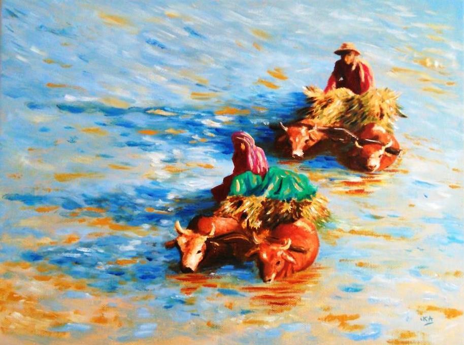 La traversée, le chemin quotidien, huile sur châssis toilé coton, format 50x40cm, 2017, Collection privée