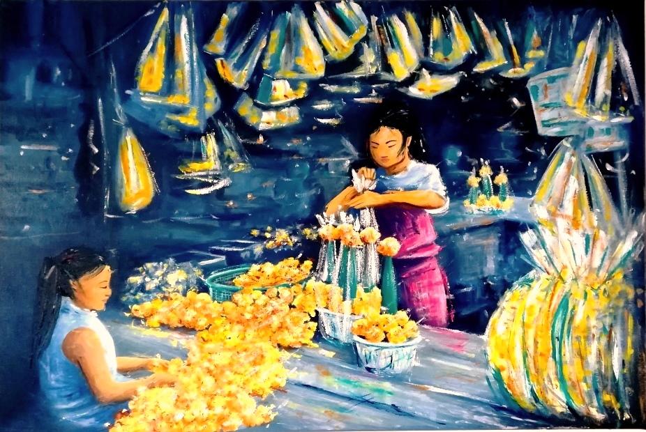 Les oeillets jaunes, un nouvel an à Bangkok, huile sur châssis toilé coton, format 70x50cm, 2017, 400€