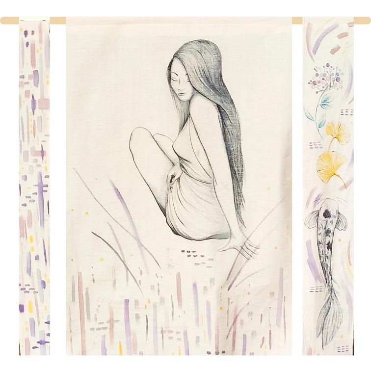 Michelle, Aquarelles végétales, encre noire, encre Bleu de Pastel, sur tissu ancien en coton brut , montage sur bois de pin, format l.110xh.95cm, 2021, 480€