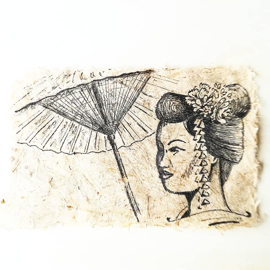 Miyako, encre noire sur papier de roseau fait-main, format 10x15cm, 2020, 50€