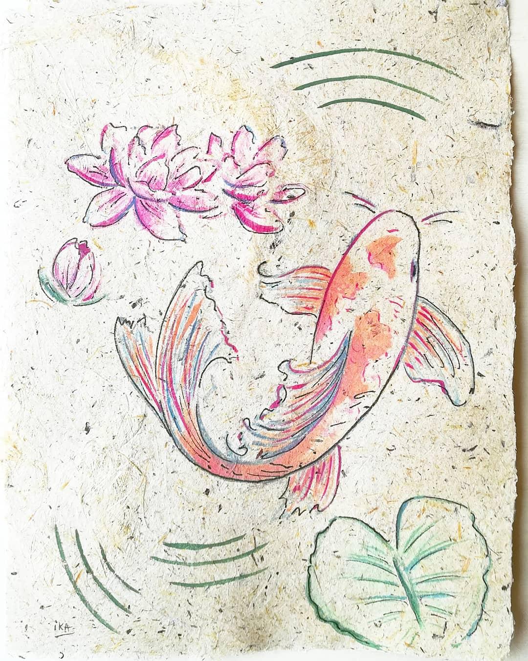 Petit printemps, aquarelle végétale sur papier fait-main en iris, format 10x15cm, 2020, 50€
