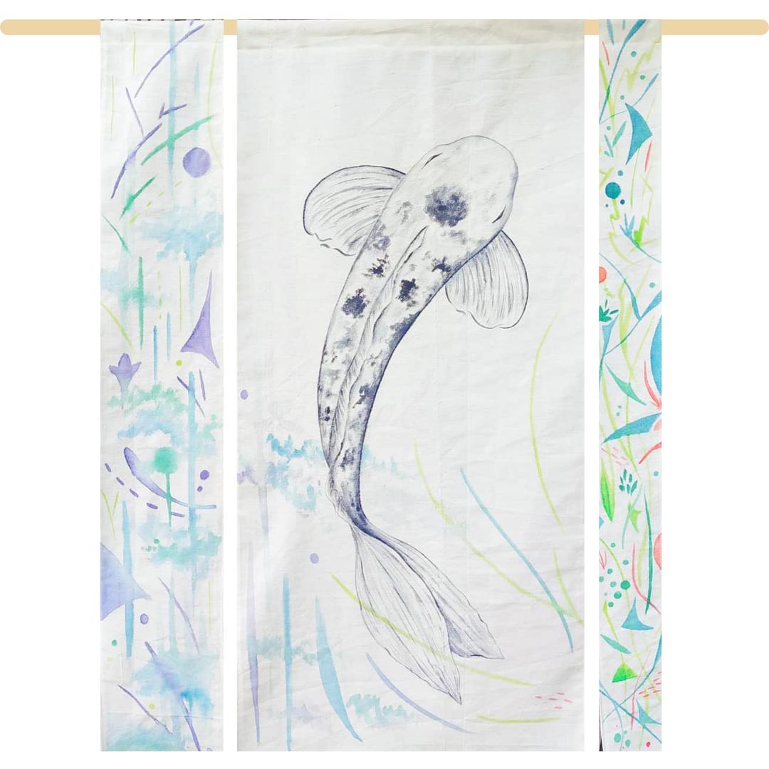 Synapses végétales, Aquarelles végétales, artisanales et japonaises, encre Bleu de Pastel, sur tissu ancien en coton brut, montage sur bois de pin, format l.110xh.95cm, 2021, 480€