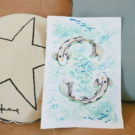 Yin Yang Koï, esprit Nature, aquarelle naturelle sur papier de Moulin français, format A4, 50€, à personnaliser dans d'autres coloris